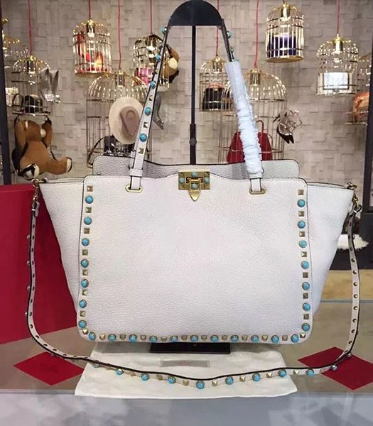 Valentino White Leather Rockstud Turquoise Tote Bag Golden Nail