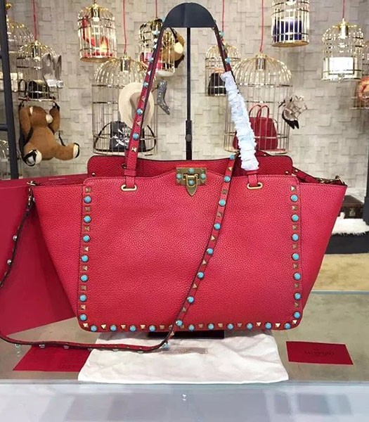 Valentino Red Leather Rockstud Turquoise Tote Bag Golden Nail