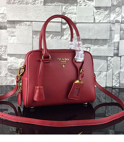 Prada Litchi Veins Calfskin Leather Tote Bag 1BD0038 Red