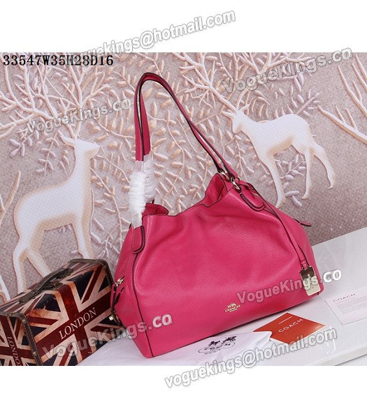 Coach Rose Red Edie Pebbled Leather Shoulder Bag 33547_1