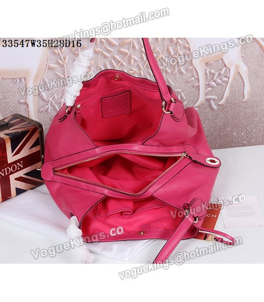 Coach Rose Red Edie Pebbled Leather Shoulder Bag 33547_2