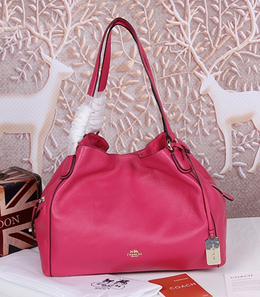Coach Rose Red Edie Pebbled Leather Shoulder Bag 33547