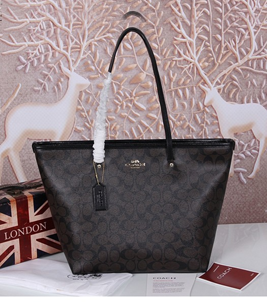 Coach 34103 Black Leather Black Canvas Street Zip Tote Bag