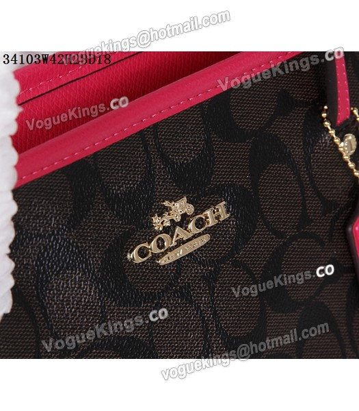 Coach 34103 Rose Red Leather Coffee Canvas Street Zip Tote Bag_5