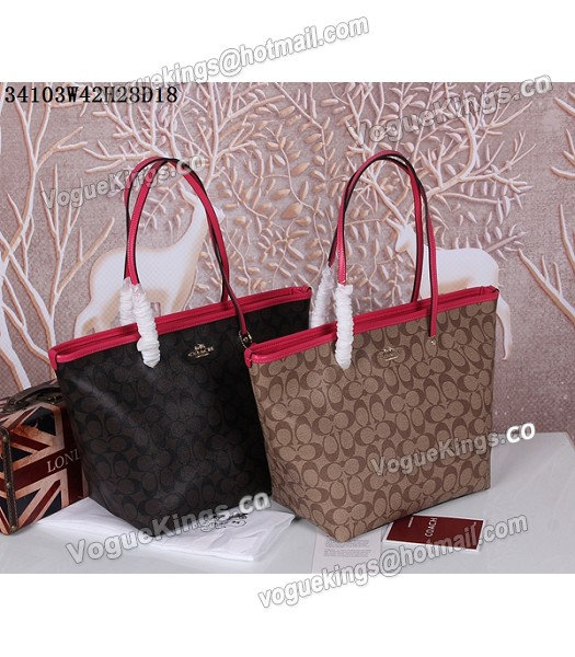 Coach 34103 Rose Red Leather Coffee Canvas Street Zip Tote Bag_6