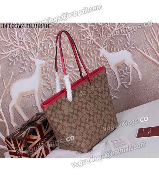 Coach 34103 Rose Red Leather Apricot Canvas Street Zip Tote Bag_1