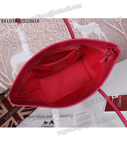 Coach 34103 Rose Red Leather Apricot Canvas Street Zip Tote Bag_2