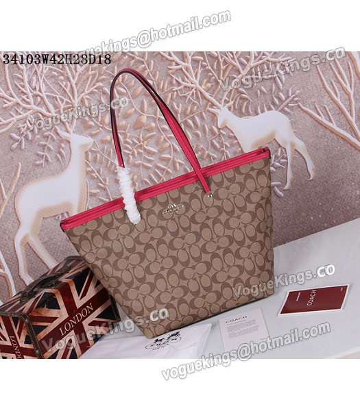 Coach 34103 Rose Red Leather Apricot Canvas Street Zip Tote Bag_3