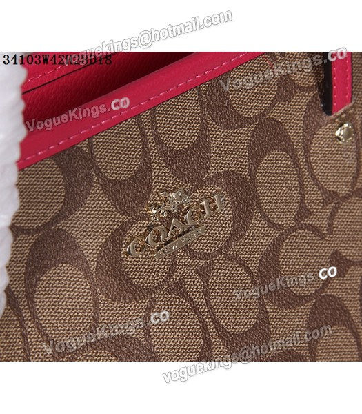 Coach 34103 Rose Red Leather Apricot Canvas Street Zip Tote Bag_5