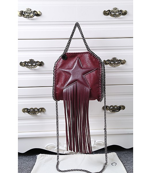 Stella McCartney Falabella Small Wine Red Star Fringed Bag