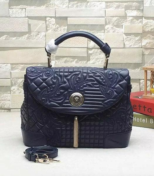 Versace Embroidered Original Sheepskin Leather Tote Bag Dark Blue
