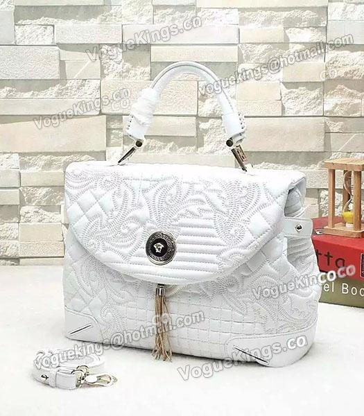 311bb8f38f1c Versace Embroidered Original Sheepskin Leather Tote Bag White-1 ...