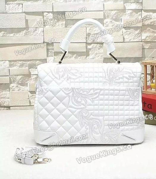ee26108834ce ... Versace Embroidered Original Sheepskin Leather Tote Bag White-2 ...
