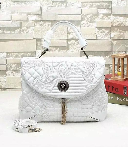 Versace Embroidered Original Sheepskin Leather Tote Bag White
