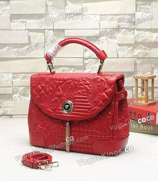 7f6397f07aee Versace Embroidered Original Sheepskin Leather Tote Bag Red-1 ...