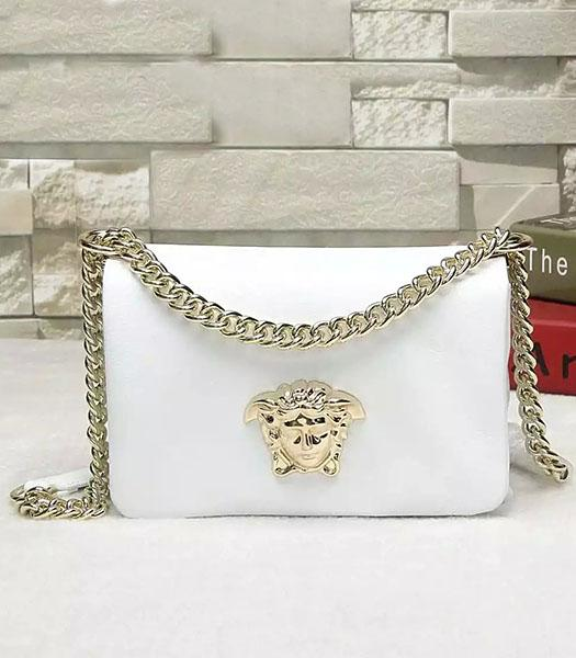 Versace Palazzo White Original Calfskin Leather Golden Chain Bag