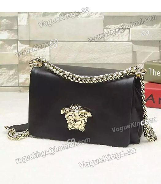 Versace Palazzo Black Original Calfskin Leather Golden Chain Bag-1