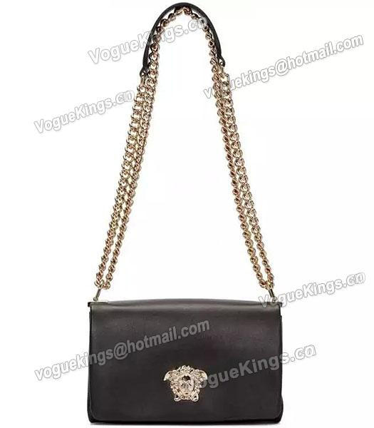 Versace Palazzo Black Original Calfskin Leather Golden Chain Bag-7