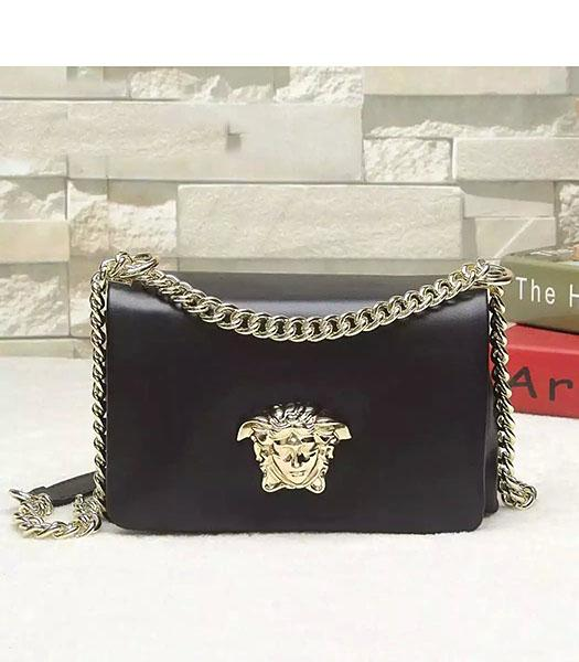 Versace Palazzo Black Original Calfskin Leather Golden Chain Bag
