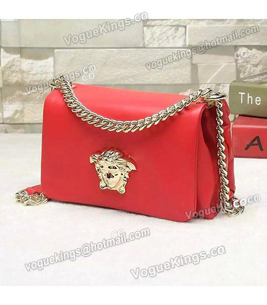 Versace Palazzo Red Original Calfskin Leather Golden Chain Bag-1
