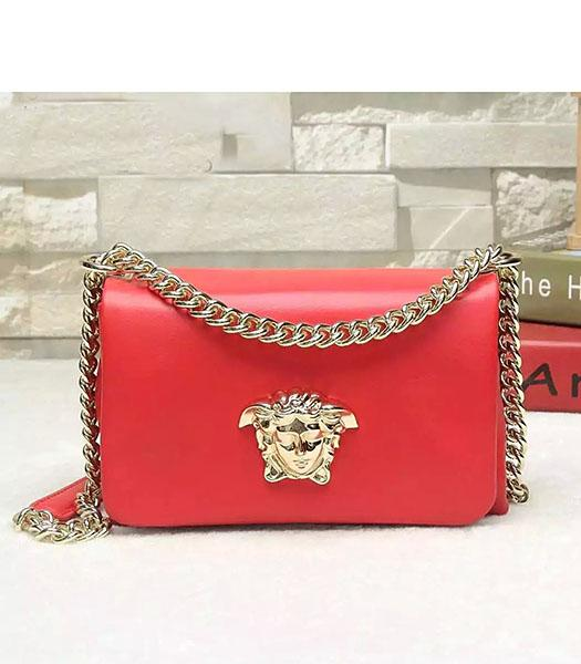 Versace Palazzo Red Original Calfskin Leather Golden Chain Bag