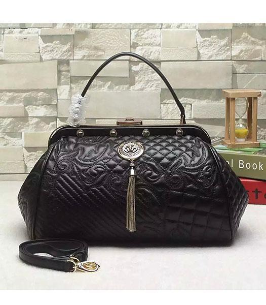 1f18f542d3 Versace Black Original Sheepskin Leather Tote Bag - Replica Handbags