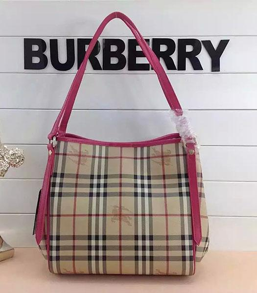 Burberry Check Canvas With Rose Red Leather Small Tote Bag