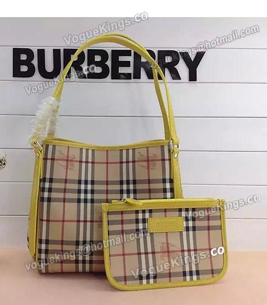 Burberry Check Canvas With Yellow Leather Small Tote Bag-1