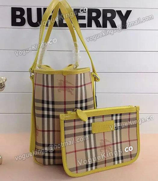 Burberry Check Canvas With Yellow Leather Small Tote Bag-2
