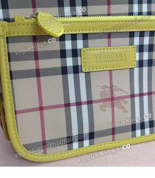 Burberry Check Canvas With Yellow Leather Small Tote Bag-3