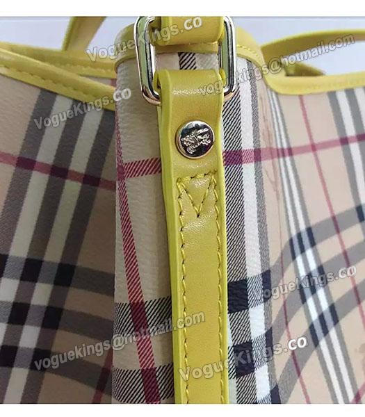 Burberry Check Canvas With Yellow Leather Small Tote Bag-4