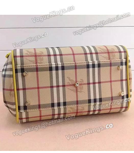 Burberry Check Canvas With Yellow Leather Small Tote Bag-5