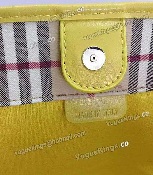 Burberry Check Canvas With Yellow Leather Small Tote Bag-6