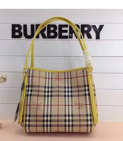 Burberry Check Canvas With Yellow Leather Small Tote Bag