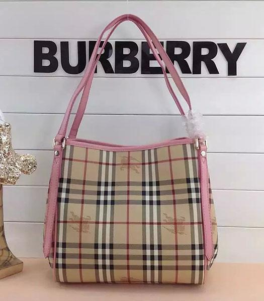Burberry Check Canvas With Pink Leather Small Tote Bag