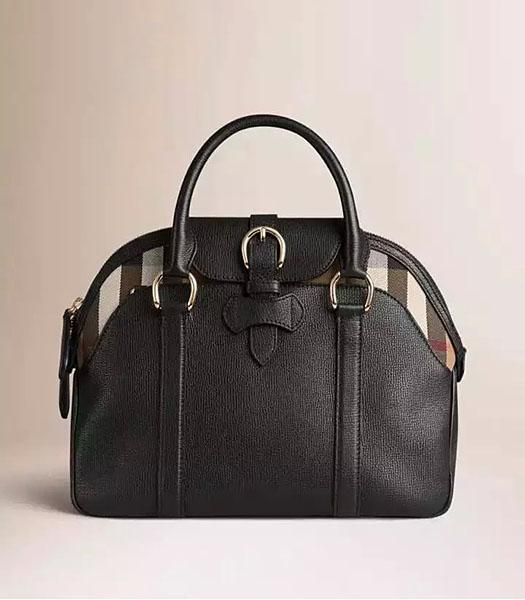 Burberry House Check Black Calfskin Leather Tote Bag