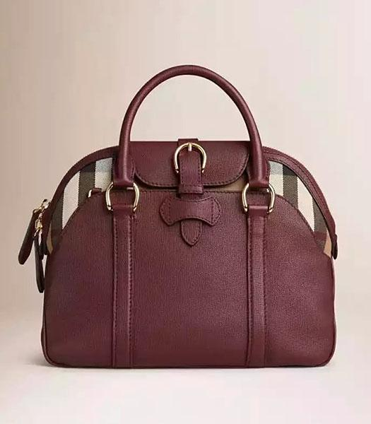 Burberry House Check Wine Red Calfskin Leather Tote Bag