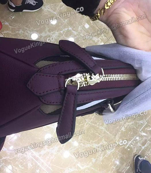 Burberry House Check Purple Calfskin Leather Tote Bag-5