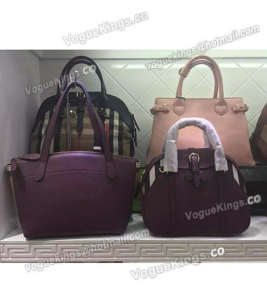 Burberry House Check Purple Calfskin Leather Tote Bag-6