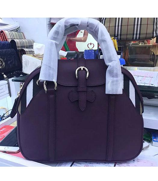 Burberry House Check Purple Calfskin Leather Tote Bag