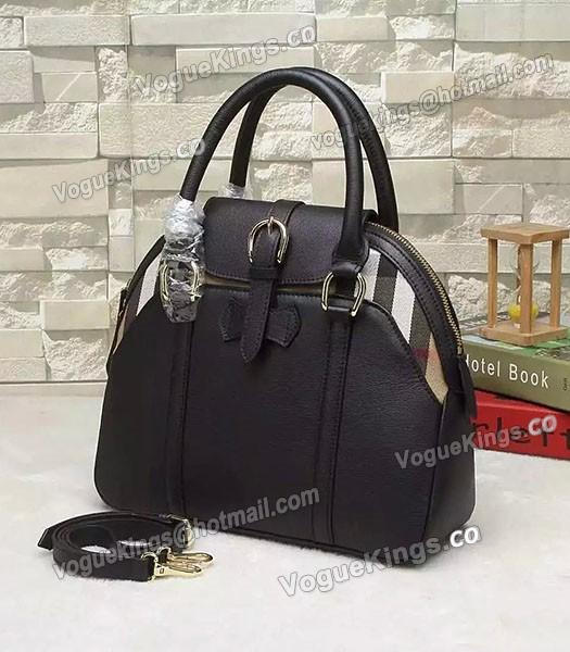 Burberry House Check Calfskin Leather Tote Bag Black-1