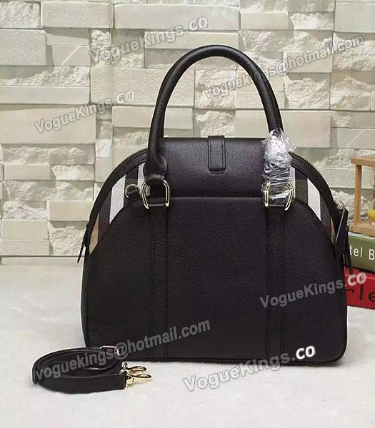 Burberry House Check Calfskin Leather Tote Bag Black-2