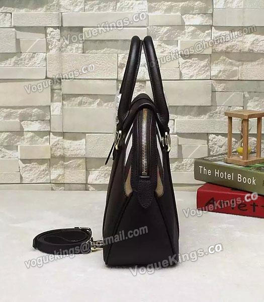 Burberry House Check Calfskin Leather Tote Bag Black-4
