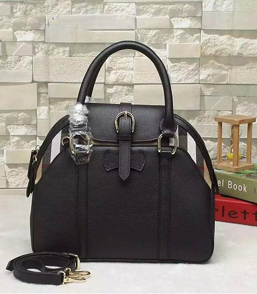 Burberry House Check Calfskin Leather Tote Bag Black