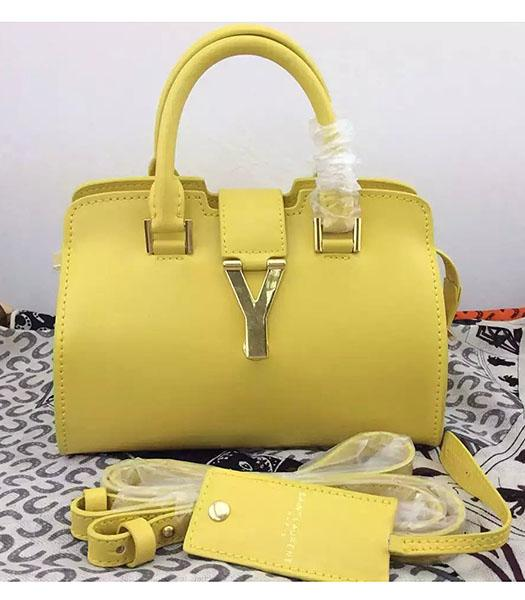 Yves Saint Laurent Cabas Chyc Yellow Leather Small Tote Bag