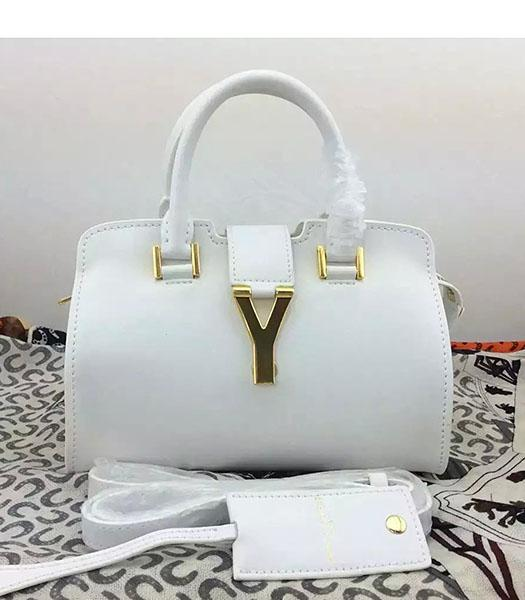 Yves Saint Laurent Cabas Chyc White Leather Small Tote Bag