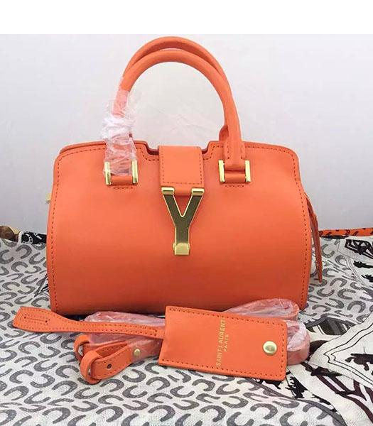 Yves Saint Laurent Cabas Chyc Orange Leather Small Tote Bag
