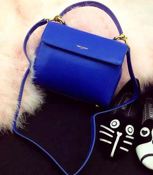 Yves Saint Laurent Blue Leather Small Tote Bag