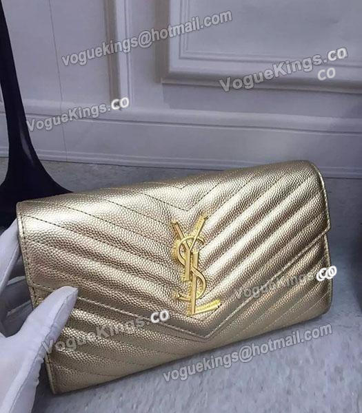 YSL Gold Original Calfskin Leather 23cm Shoulder Bag Golden Chain_1