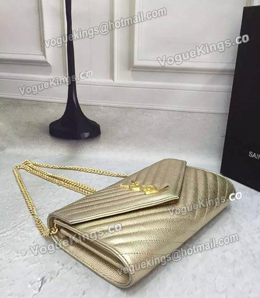 YSL Gold Original Calfskin Leather 23cm Shoulder Bag Golden Chain_2